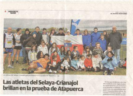 LOS ATLETAS DEL C.D.E. ATLETISMO SELAYA-CRIANAJOL EN EL VII  CROSS INTERNACIONAL DE ATAPUERCA