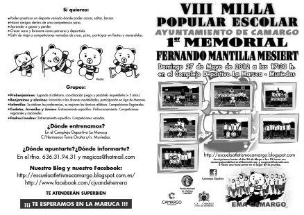 PRESENTACIÓN VIII MILLA POPULAR ESCOLAS AYUNTAMIENTO DE CAMARGO 2012