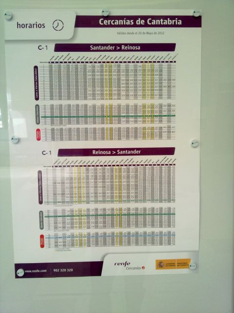 Horarios de bosillo de Renfe
