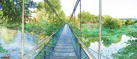 Puente colgante Barrio Covadonga. Lápiz color